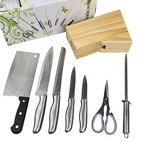 Bộ dao nhà bếp 8 món gồm khay đựng, dao inox cao cấp, hỉnh ảnh thực tế