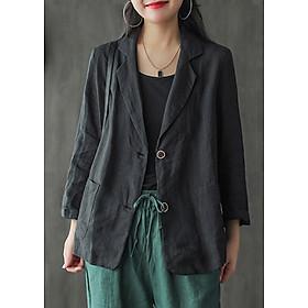 Áo vest Blazer Linen nữ 1 lớp LAHstore, chất vải linen mềm mại, thời trang thu đông.