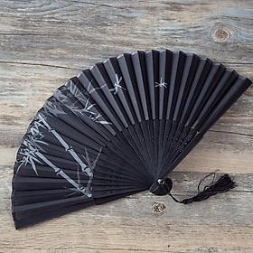 Quạt xếp quạt trúc cầm tay quạt phong cách cổ trang Trung Quốc in hoa trang trí trang mẫu trúc chuồn chuồn tặng ảnh thiết kế Vcone