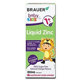 Siro bổ sung Kẽm, Vitamin C và D Brauer Úc Baby & Kids Liquid Zinc cho bé trên 1 tuổi (200ml)