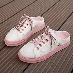 Giày sục thể thao dây hồng cute SỤC N.Y ( Fom Rộng lùi lại 1 ri )