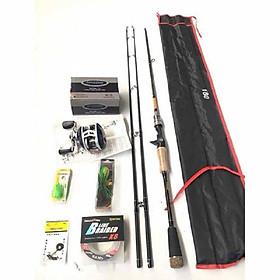 Bộ cần câu lure cá lóc máy ngang 2 ngọn và đầy đủ phụ kiện