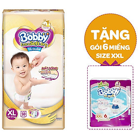 Tã Quần Cao Cấp Bobby Extra Soft Dry XL50 (50 Miếng) - Tặng Tã quần siêu thấm XXL 6 miếng