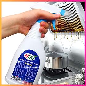 Siêu tẩy dầu mỡ bếp HGO tẩy sạch lưới lọc máy hút mùi, mặt bếp ga, bếp từ, tường gạch ốp. Chai 500ml
