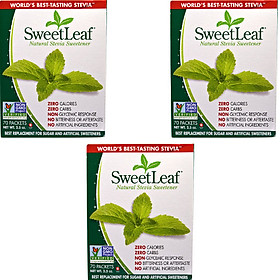 COMBO 3 hộp x Đường ăn kiêng cỏ ngọt Sweetleaf Stevia 70 gói - Sweetleaf stevia sweetener tự nhiên - Xuất xứ Mỹ - 0 Calories