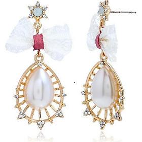 Bông tai đính đá và ngọc trai kiểu nữ hoàng công chúa - Jewelry kiểu dáng dễ thương thanh lịch khi đeo.