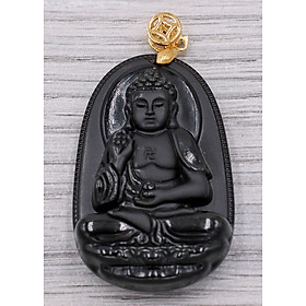 Mặt dây chuyền Phật A Di Đà đá thạch anh đen 4.3cm phật bản mệnh dành cho người tuổi Tuất, Hợi