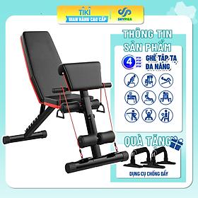 Ghế tập thể lực đa năng, ghế tập gym đa năng,  tặng dụng cụ chông đẩy ,ghế tập gym tập tạ 4 trong 1, có thể gấp gọn đa chức năng, dùng tại nhà, ghế băng tập thể thao dụng cụ thể hình đa năng, ghế tập bụng