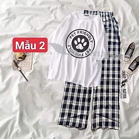 sét bộ áo tjun hình cute 5 + quần kẻ ống rộng 5324