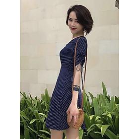 Đầm bi nút bọc 2 màu