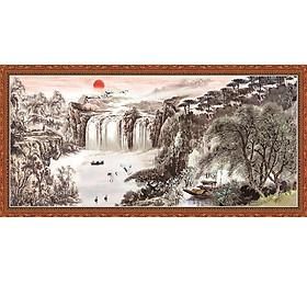 Tranh dán tường hình 3D vải lụa cao cấp - thác nước tiên cảnh tông màu ám nâu