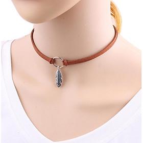 Women Stylish Elegant Bohemian Style Feather Suede Choker Necklace