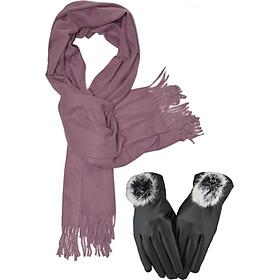 Khăn len quàng cổ nữ tặng kèm găng tay lót nỉ ( Tím nhạt)