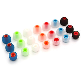 6 Pairs 12 PCS 3.8mm Soft Silicone In-Ear Earphone Covers Earbud Tips Earbuds Eartips Dual Color Ear Pads Cushion for