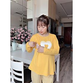 Bộ Đồ Dài Cho Mẹ Bầu Sau Sinh Kẻ Caro Đẹp MaMa - Free size - Mầu vàng