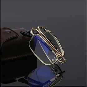 Kính lão thị trung niên nửa viền có bao da chống ánh sáng xanh chống mỏi gọng gold kiểu dáng sang trọng