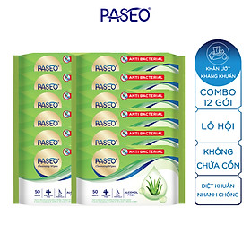 Combo 12 gói khăn ướt kháng khuẩn Paseo chiết xuất Lô Hội 50 tờ