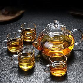 Bộ ấm trà thủy tinh chịu nhiệt L01 dung tích 600ml kèm 4 cốc sử dụng cho tiệc trà nhỏ gọn, sang trọng