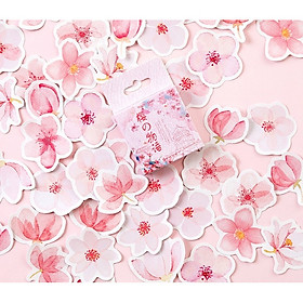 Hộp 45 Miếng Dán Sticker Trang Trí Hoa Anh Đào Nhật Bản