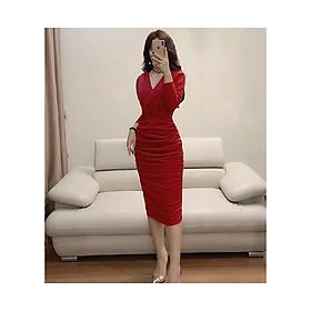 Đầm đỏ body cổ V quyến rũ V1248