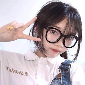 Gọng kính cận dáng tròn, kính mắt không tròng thiết kế thời trang phi giới tính KM24
