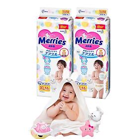 Combo 2 Tã Dán Merries XL44 tặng khăn tắm sợi tre hình thỏ đáng yêu và đồ chơi tắm Toys House-0