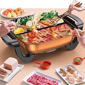 Bếp lẩu nướng nồi lẩu kép 2 ngăn dung tích 5 lít công xuất 1360 W mặt nồi phủ chống dính cao cấp - Hàng chính hãng
