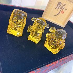 Bộ tượng Tam Đa (3 Ông Phúc Lộc Thọ) May Mắn bằng Pha Lê Cao Cấp Mani Đ.PK.005-50x3 - Mang đến Điều Lành cho con cái, sự Thịnh Vượng, May Mắn và tuổi Thọ cho Gia Chủ