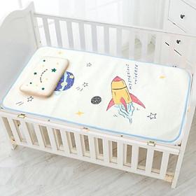 Chiếu điều hòa sợi lụa kèm gối ngủ thảo mộc cho bé ( loại đẹp ) - tặng 01 chip cho bé, 1 nút bịt ổ điện