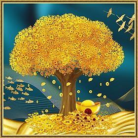 Tranh dán tường Cây Tài Lộc Tiền Vàng Phong Thủy Tiền Vô Như Nước