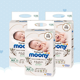 [COMBO 3 BỊCH] Bỉm Dán Moony Natural Newborn 63