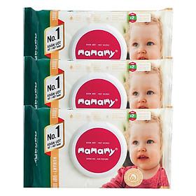 Combo 3 Gói Khăn Giấy Ướt 80 Tờ Không Mùi Kháng Khuẩn An Toàn Cho Bé Mamamy ( 80 Tờ Nắp x 3)