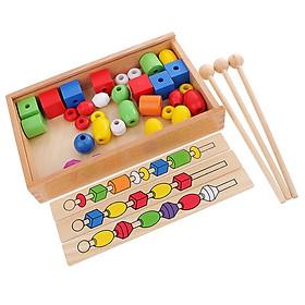 Montessori 6 Màu Xếp Hình Xây Dựng Đính Hạt Trẻ Em Đầu Học Phát Triển Đồ Chơi