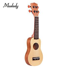 Muslady 17 Inch Mini Acoustic Ukulele Travel Portable Ukelele Uke Pocket 4-string Guitar Spruce Wood Topboard with Carry