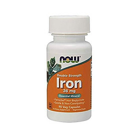NOW Supplements, Iron 36 mg, Double Strength, Non-Constipating, Essential Mineral, 90 Veg Capsules