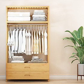 Tủ treo quần áo gỗ tre có ngăn kéo để đồ tiện lợi, giá treo quần áo 100cm TUR069