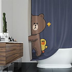 Rèm tắm Line Friend không thấm nước và chống ẩm mốc (Tùy chọn kích thước)