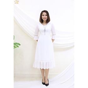 Đầm Thiết kế Đầm xòe Đầm thời trang công sở Đầm trung niên thương hiệu TTV351 trắng - Đầm form A tay chuông phối ren CD