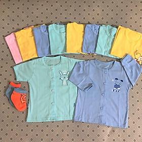 Combo 5 áo sơ sinh cotton tay dài & 5 áo sơ sinh cotton tay ngắn cài nút giữa màu Thái Hà Thịnh (Tặng kèm 2 đôi tất sơ sinh amigo size tương ứng, màu ngẫu nhiên)
