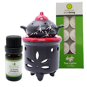 Combo đèn xông tinh dầu nến hình ấm + tinh dầu sả chanh 10ml Bio Aroma tặng kèm 10 viên nến tealight (đèn giao màu ngẫu nhiên)
