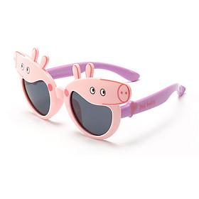 Kính gọng dẻo thời trang 2019 heo Peppa Pig chống tia UV chống bụi cho trẻ em kèm hộp hình ô tô khăn lau kính