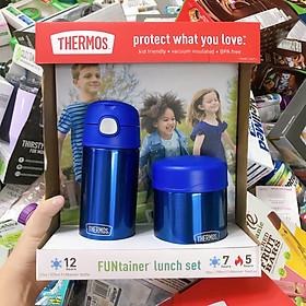 Set Bình Hộp Giữ Nhiệt Cho Trẻ Em Thermos Funtainer Lunch Pink Bình 355ml  Hộp 290ml
