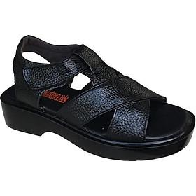Dép sandal nam Trường Hải da bò cao cấp mềm mại không bong tróc màu đen đế PU siêu nhẹ cao 5cm SDN001