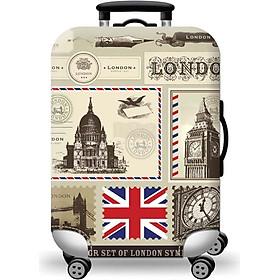Áo vỏ bọc vali - Vải trùm vali co giản 3d in hình london Shalla