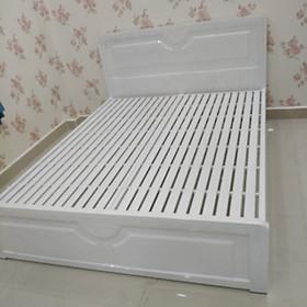 Giường sắt hộp giả gỗ màu trắng cao cấp 1m6 x2m