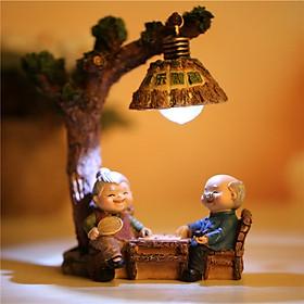 Tượng Trang Trí Ông Bà Có Đèn Led Nhỏ Làm Quà Tặng, Trang Trí, Lưu Niệm_Tặng Kèm Móc Khóa Mèo Con Ngồi Hộp
