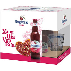 Lốc 6 chai Hoegaarden Rosee Xứng Bia Vừa Bữa (248ml/chai) + 1 ly thủy tinh