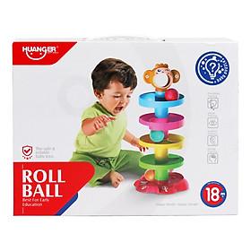 Đồ chơi xếp tháp thả bóng lăn 5 tầng phát âm thanh vui nhộn cho trẻ em Huanger HE0205