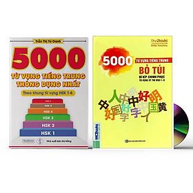 Sách- Combo 2 sách 5000 từ vựng tiếng Trung thông dụng nhất theo khung HSK từ HSK1 đến HSK6+5000 Từ Vựng Tiếng Trung Bỏ Túi - Bí Kíp Chinh Phục Từ Vựng Kỳ Thi Hsk 1 - 6 kèm ví dụ câu+ DVD tài liệu
