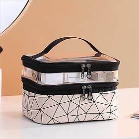 Túi đựng mỹ phẩm, đồ dùng cá nhân hàng ngày và du lịch – Túi 2 ngăn – Chất liệu TPU & Da
